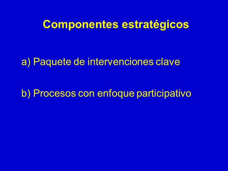 Componentes estratégicos a) Paquete de intervenciones clave b) Procesos con enfoque participativo