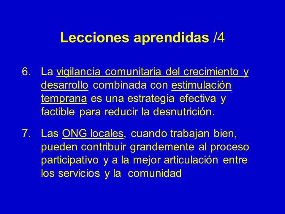 Lecciones aprendidas /4 6.La vigilancia comunitaria del crecimiento y desarrollo combinada con estimulación temprana es una estrategia efectiva y fact