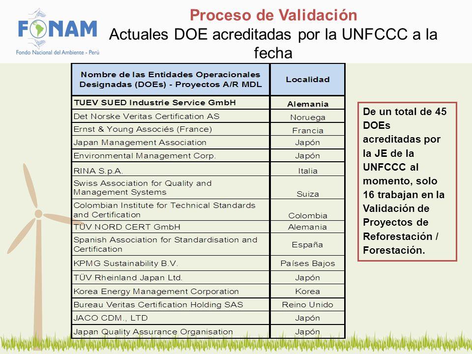 Proceso de Validación Actuales DOE acreditadas por la UNFCCC a la fecha De un total de 45 DOEs acreditadas por la JE de la UNFCCC al momento, solo 16