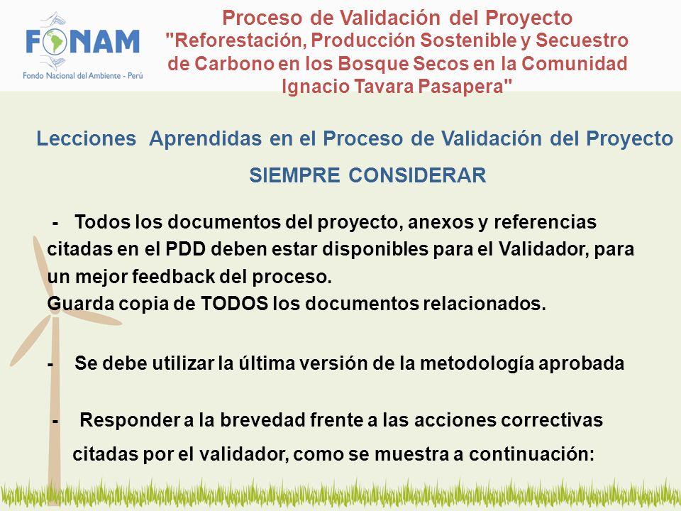 Lecciones Aprendidas en el Proceso de Validación del Proyecto SIEMPRE CONSIDERAR Proceso de Validación del Proyecto