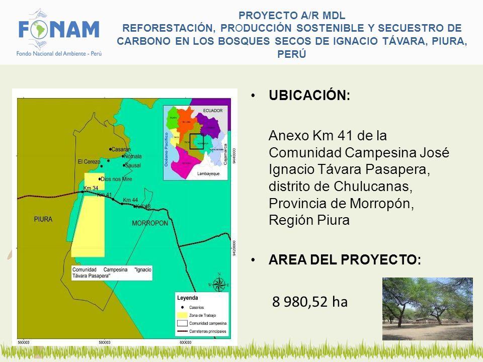 PROYECTO A/R MDL REFORESTACIÓN, PRODUCCIÓN SOSTENIBLE Y SECUESTRO DE CARBONO EN LOS BOSQUES SECOS DE IGNACIO TÁVARA, PIURA, PERÚ UBICACIÓN: Anexo Km 4