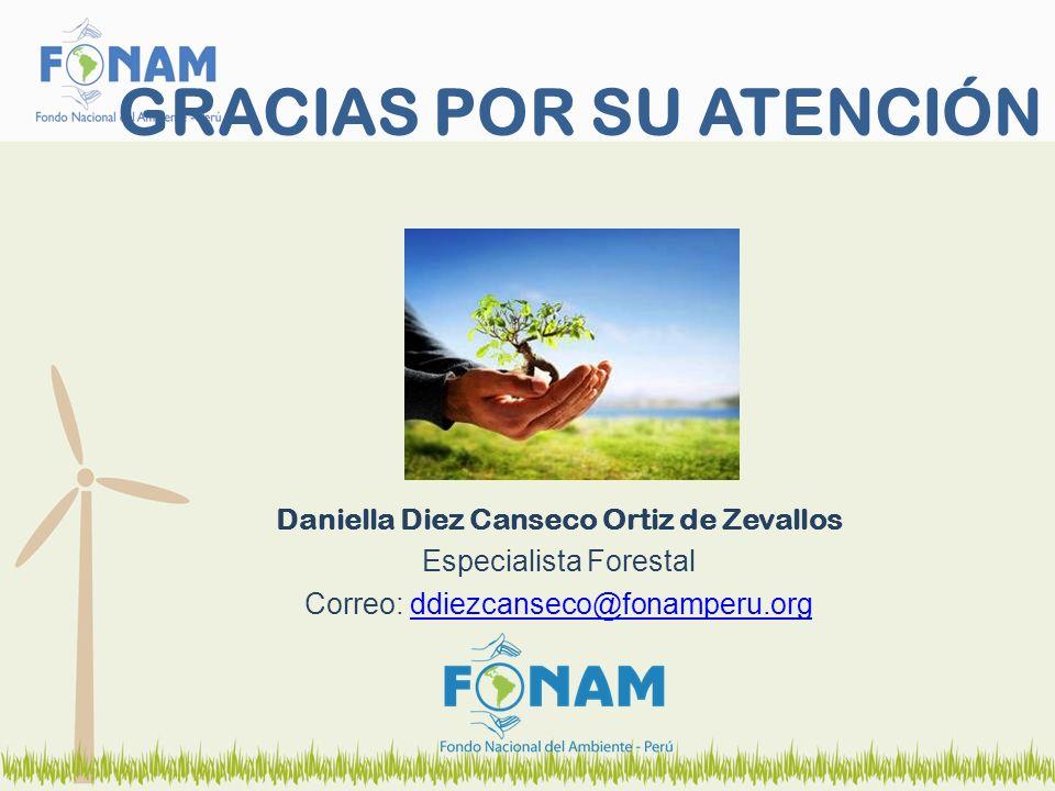 GRACIAS POR SU ATENCIÓN Daniella Diez Canseco Ortiz de Zevallos Especialista Forestal Correo: ddiezcanseco@fonamperu.orgddiezcanseco@fonamperu.org