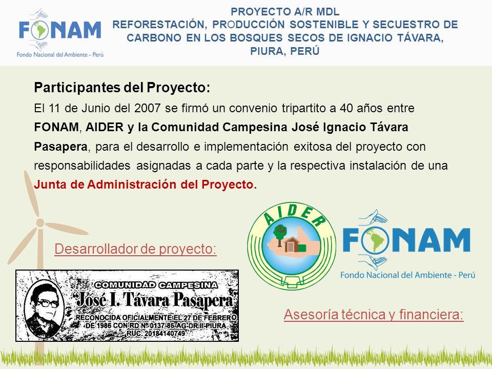 PROYECTO A/R MDL REFORESTACIÓN, PRODUCCIÓN SOSTENIBLE Y SECUESTRO DE CARBONO EN LOS BOSQUES SECOS DE IGNACIO TÁVARA, PIURA, PERÚ Participantes del Pro