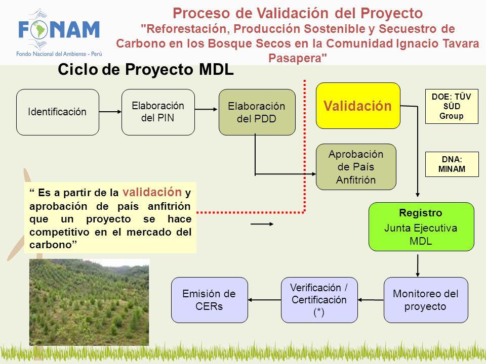 Proceso de Validación del Proyecto Reforestación, Producción Sostenible y Secuestro de Carbono en los Bosque Secos en la Comunidad Ignacio Tavara Pasapera Validación es el proceso de evaluación independiente de una actividad de proyecto por parte de una Entidad Operativa Designada (DOE) acreditada por la JE del UNFCCC.