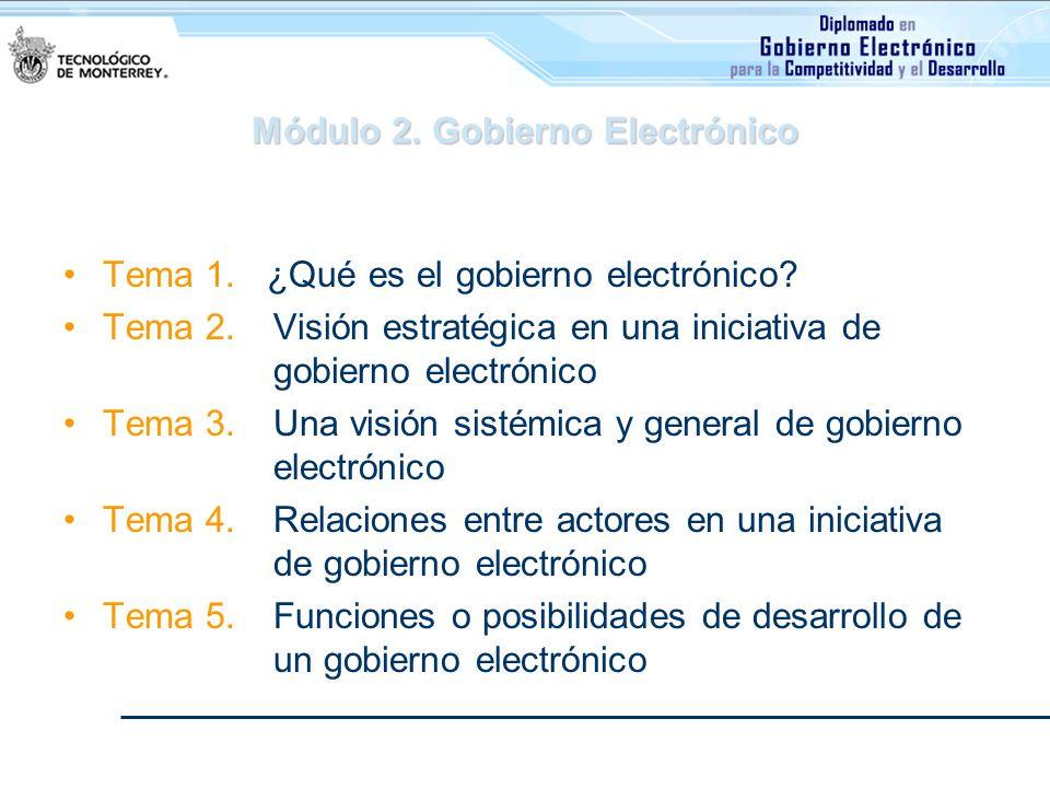 Módulo 2. Gobierno Electrónico Tema 1. ¿Qué es el gobierno electrónico? Tema 2. Visión estratégica en una iniciativa de gobierno electrónico Tema 3. U
