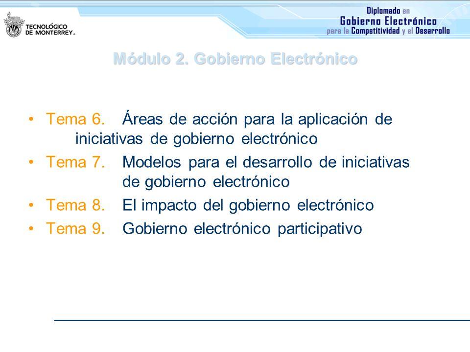 Módulo 2. Gobierno Electrónico Tema 6. Áreas de acción para la aplicación de iniciativas de gobierno electrónico Tema 7. Modelos para el desarrollo de