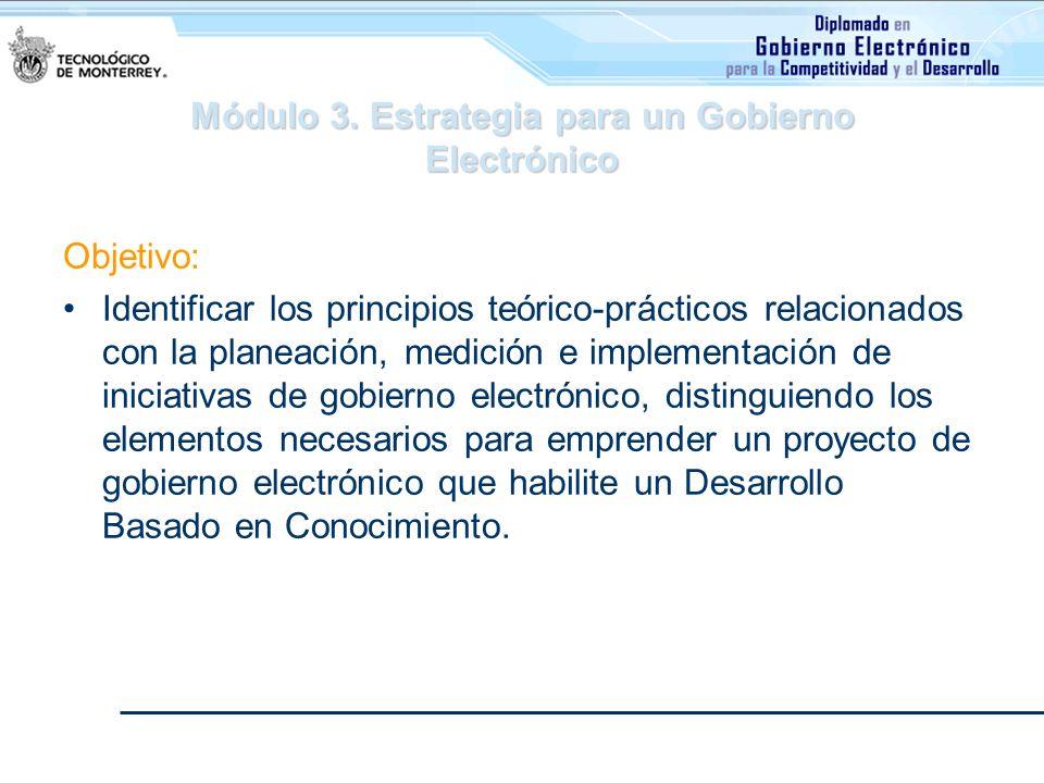 Módulo 3. Estrategia para un Gobierno Electrónico Objetivo: Identificar los principios teórico-prácticos relacionados con la planeación, medición e im