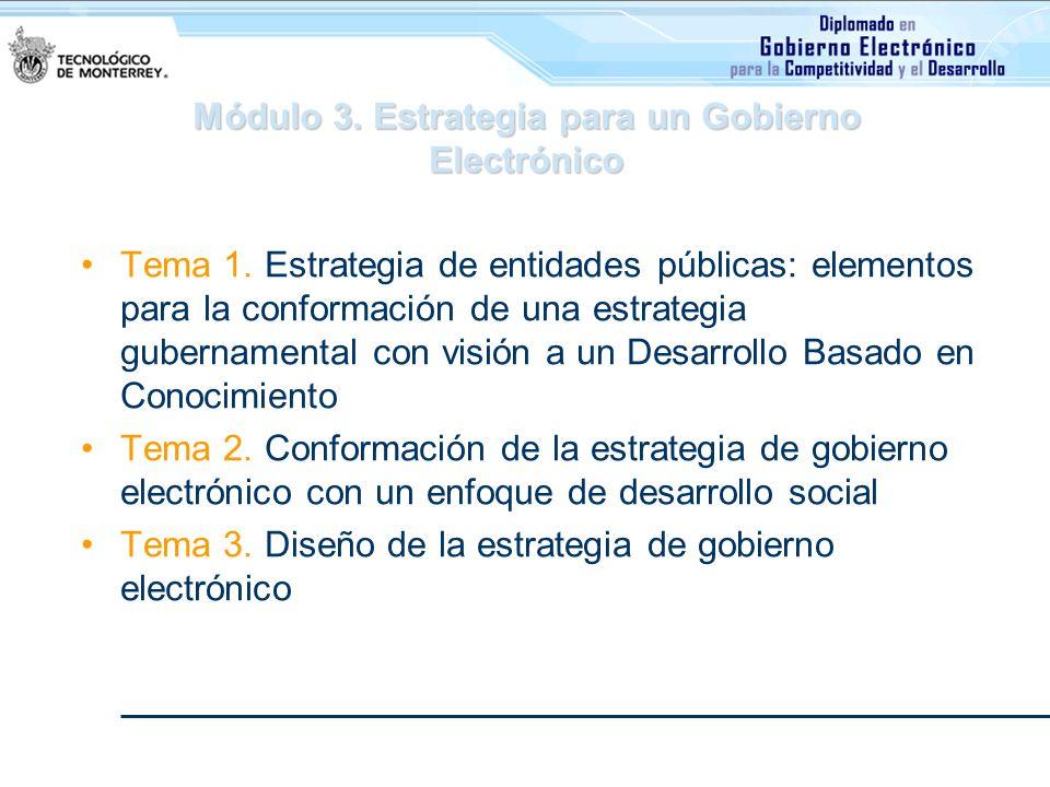 Módulo 3. Estrategia para un Gobierno Electrónico Tema 1. Estrategia de entidades públicas: elementos para la conformación de una estrategia gubername