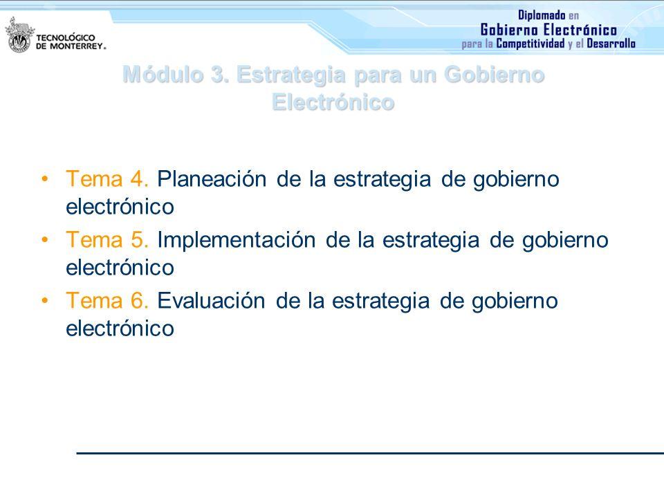 Módulo 3. Estrategia para un Gobierno Electrónico Tema 4. Planeación de la estrategia de gobierno electrónico Tema 5. Implementación de la estrategia