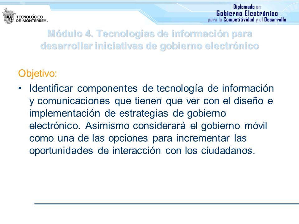Módulo 4. Tecnologías de información para desarrollar iniciativas de gobierno electrónico Objetivo: Identificar componentes de tecnología de informaci
