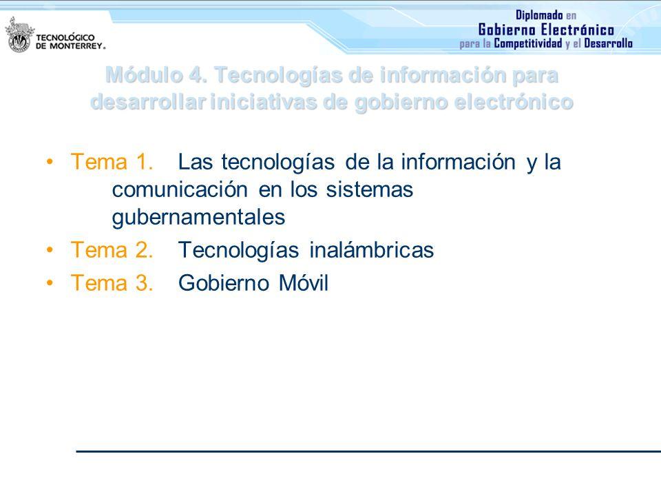 Módulo 4. Tecnologías de información para desarrollar iniciativas de gobierno electrónico Tema 1. Las tecnologías de la información y la comunicación