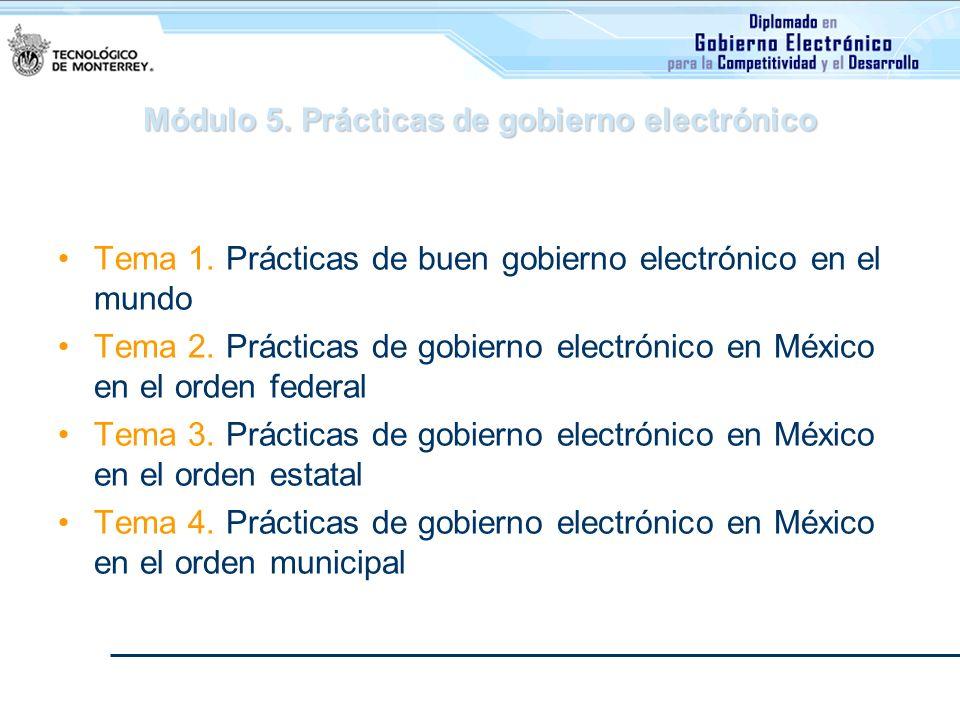 Módulo 5. Prácticas de gobierno electrónico Tema 1. Prácticas de buen gobierno electrónico en el mundo Tema 2. Prácticas de gobierno electrónico en Mé