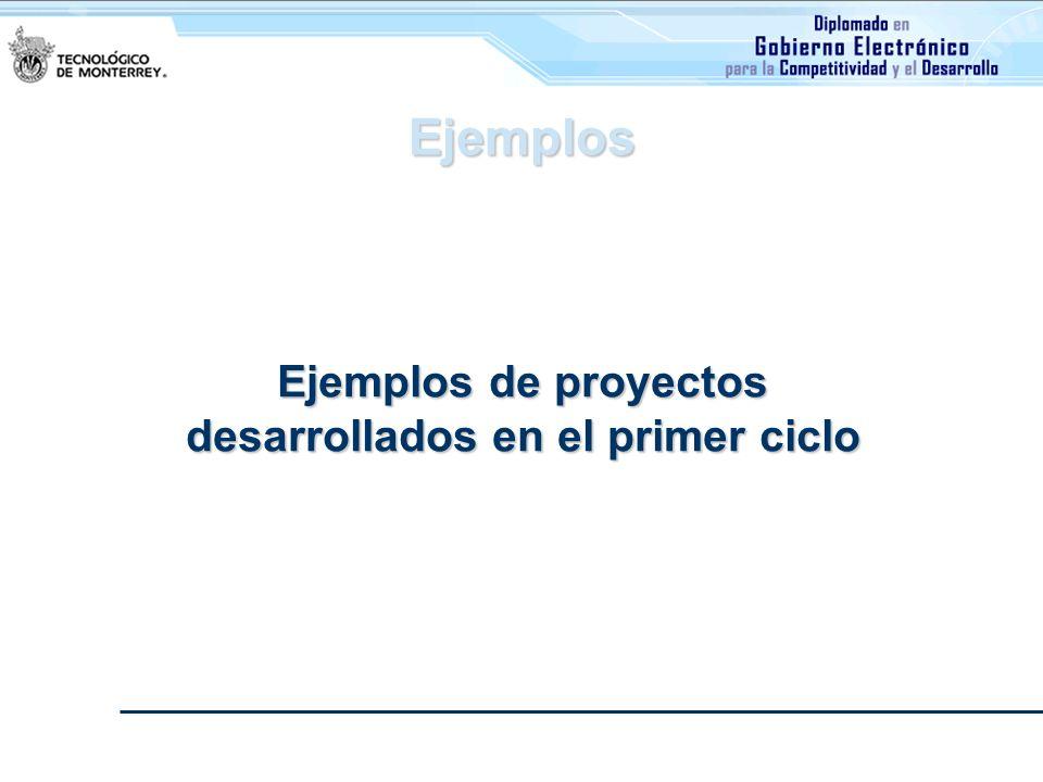 Ejemplos de proyectos desarrollados en el primer ciclo Ejemplos