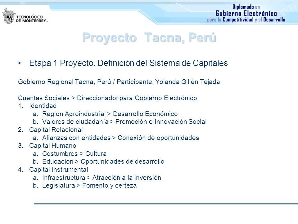 Proyecto Tacna, Perú Etapa 1 Proyecto. Definición del Sistema de Capitales Gobierno Regional Tacna, Perú / Participante: Yolanda Gillén Tejada Cuentas