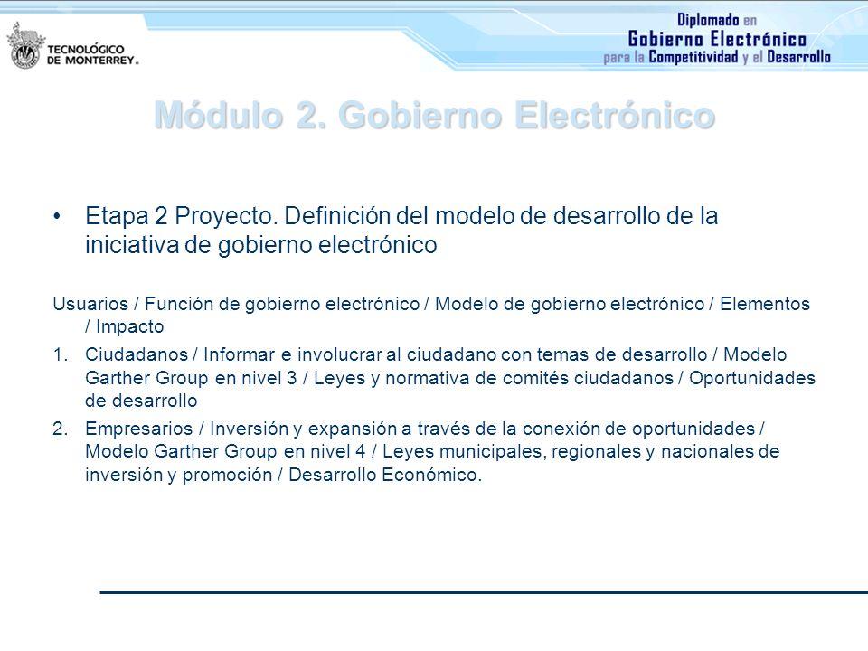Módulo 2. Gobierno Electrónico Etapa 2 Proyecto. Definición del modelo de desarrollo de la iniciativa de gobierno electrónico Usuarios / Función de go