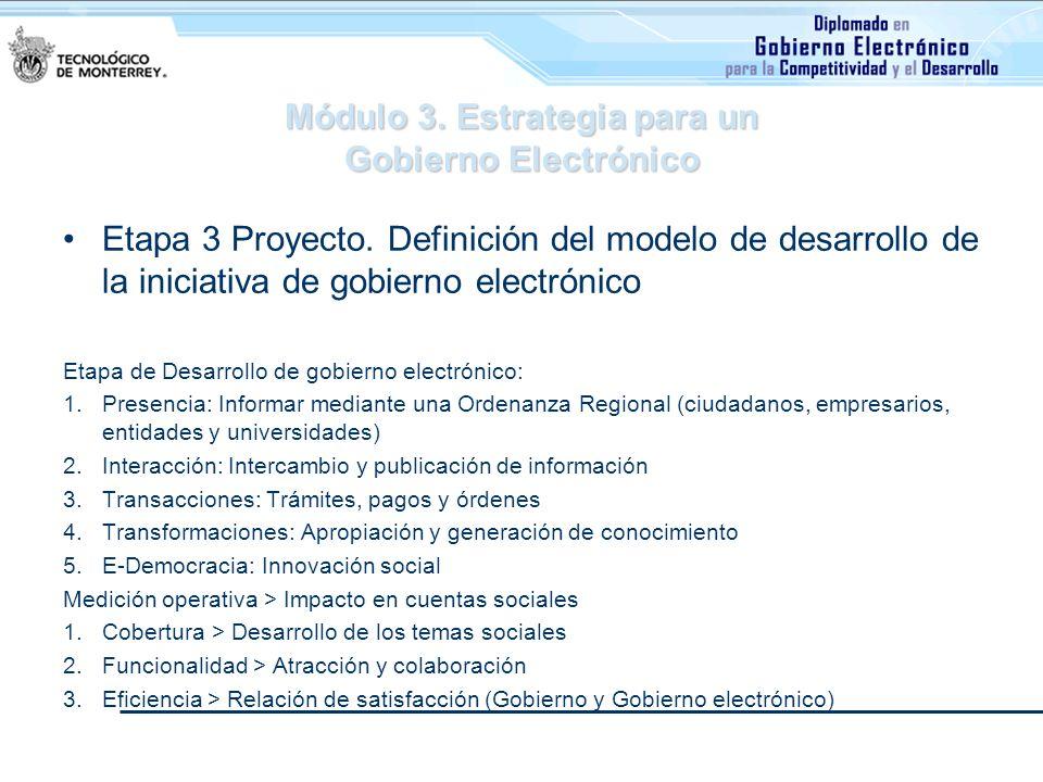 Módulo 3. Estrategia para un Gobierno Electrónico Etapa 3 Proyecto. Definición del modelo de desarrollo de la iniciativa de gobierno electrónico Etapa