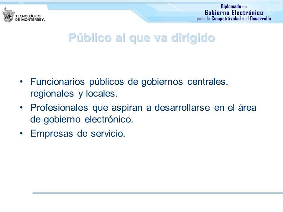 Público al que va dirigido Funcionarios públicos de gobiernos centrales, regionales y locales. Profesionales que aspiran a desarrollarse en el área de