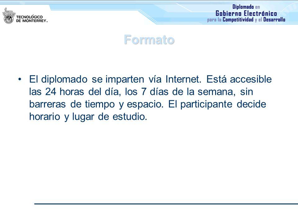 Formato El diplomado se imparten vía Internet. Está accesible las 24 horas del día, los 7 días de la semana, sin barreras de tiempo y espacio. El part
