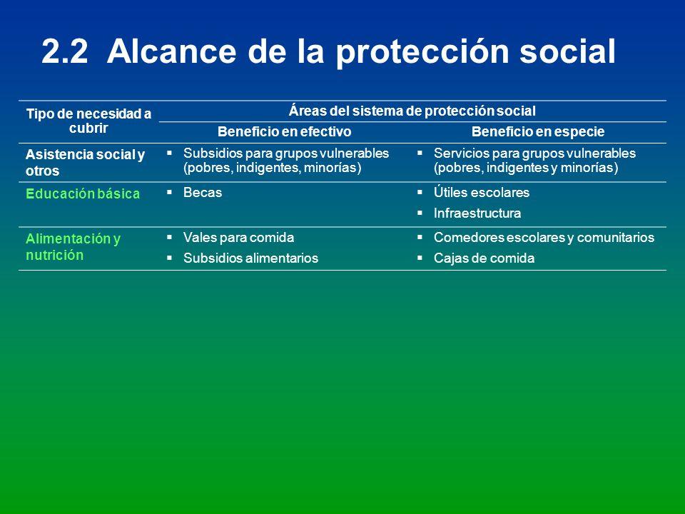 Tipo de necesidad a cubrir Áreas del sistema de protección social Beneficio en efectivoBeneficio en especie Asistencia social y otros Subsidios para g