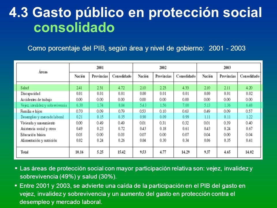 4.3 Gasto público en protección social consolidado Como porcentaje del PIB, según área y nivel de gobierno: 2001 - 2003 Las áreas de protección social