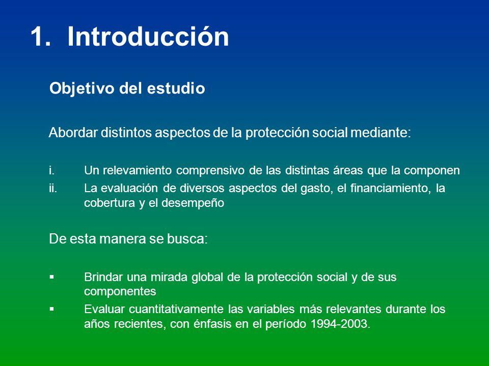 4.3 Gasto público en protección social consolidado Como porcentaje del PIB, según área y nivel de gobierno: 2001 - 2003 Las áreas de protección social con mayor participación relativa son: vejez, invalidez y sobrevivencia (49%) y salud (30%).