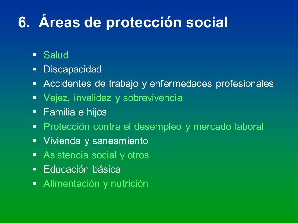 6. Áreas de protección social Salud Discapacidad Accidentes de trabajo y enfermedades profesionales Vejez, invalidez y sobrevivencia Familia e hijos P