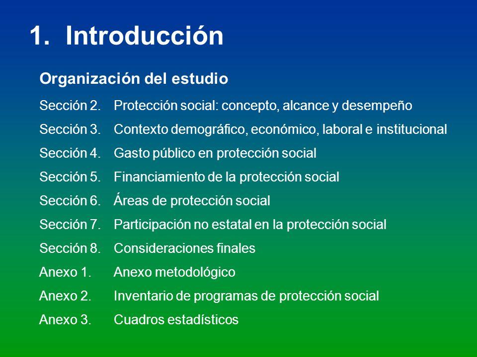 1. Introducción Sección 2.Protección social: concepto, alcance y desempeño Sección 3. Contexto demográfico, económico, laboral e institucional Sección