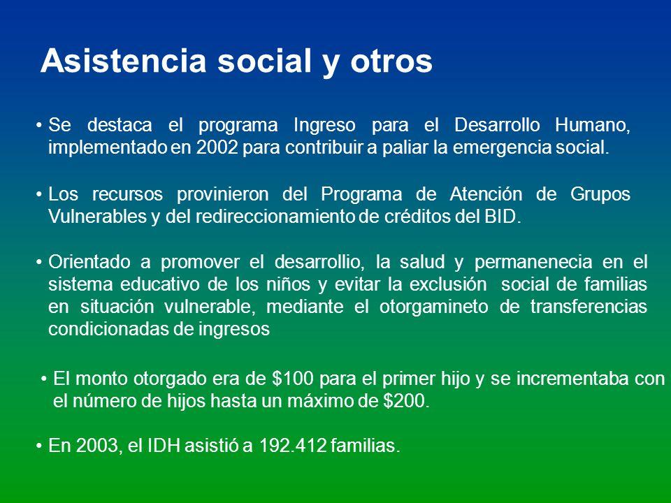 Asistencia social y otros Se destaca el programa Ingreso para el Desarrollo Humano, implementado en 2002 para contribuir a paliar la emergencia social