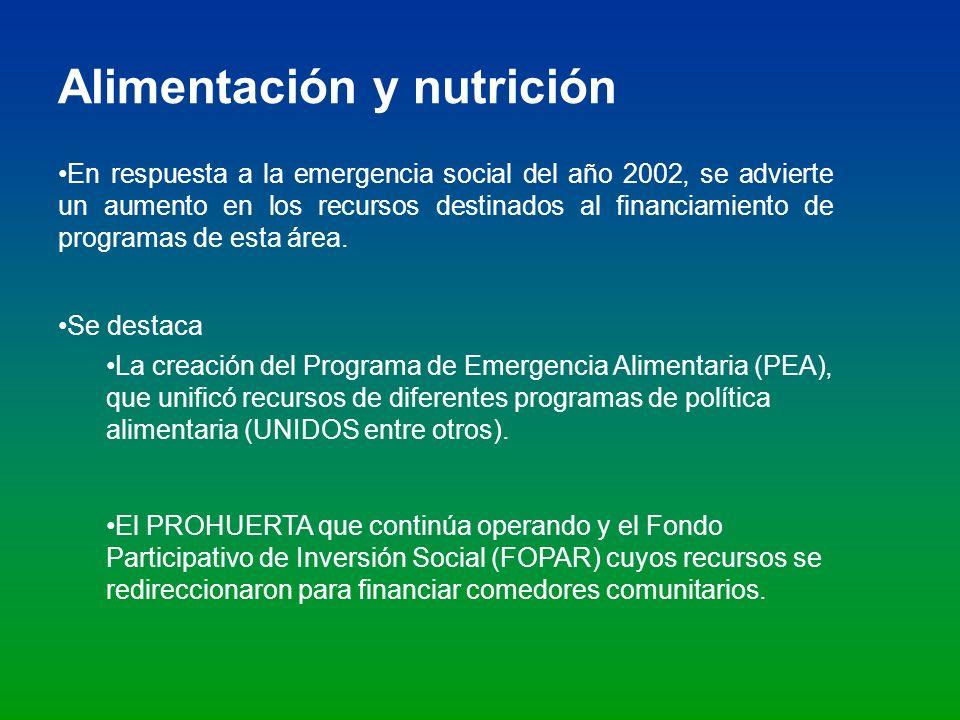Alimentación y nutrición En respuesta a la emergencia social del año 2002, se advierte un aumento en los recursos destinados al financiamiento de prog