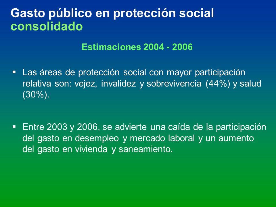 Gasto público en protección social consolidado Estimaciones 2004 - 2006 Las áreas de protección social con mayor participación relativa son: vejez, in