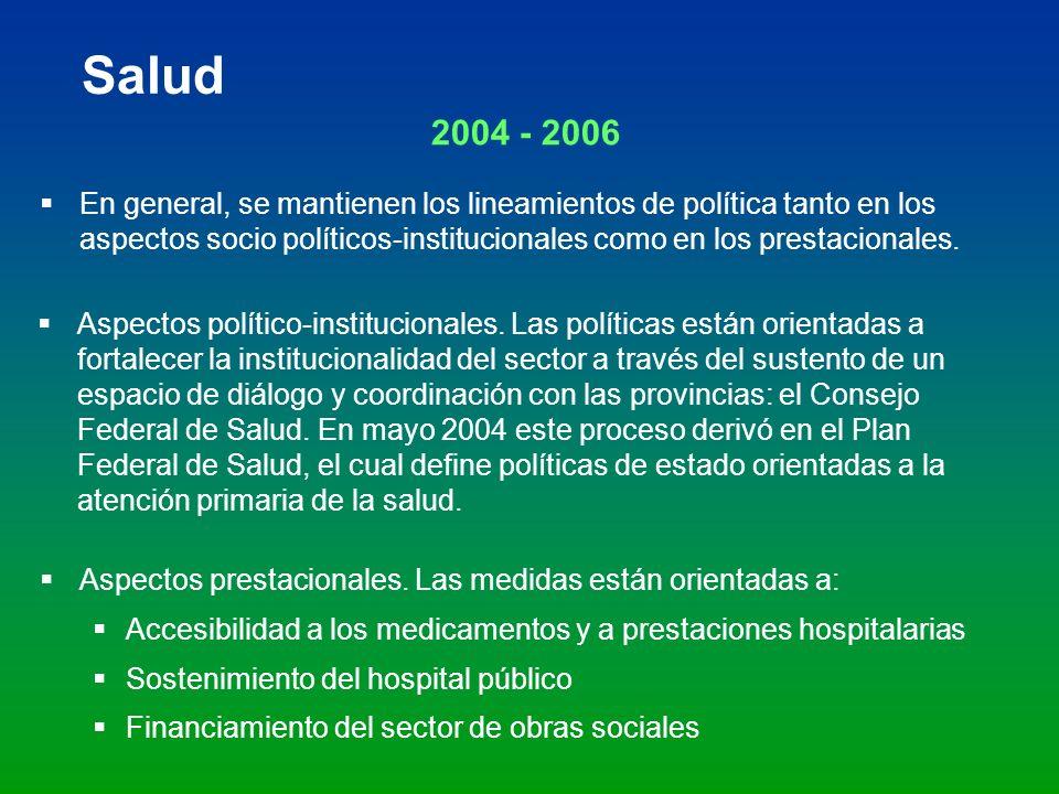 Salud 2004 - 2006 En general, se mantienen los lineamientos de política tanto en los aspectos socio políticos-institucionales como en los prestacional