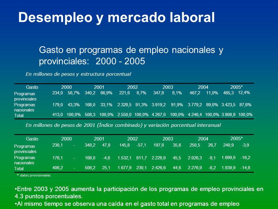 * datos provisionales Gasto en programas de empleo nacionales y provinciales: 2000 - 2005 Desempleo y mercado laboral Entre 2003 y 2005 aumenta la par
