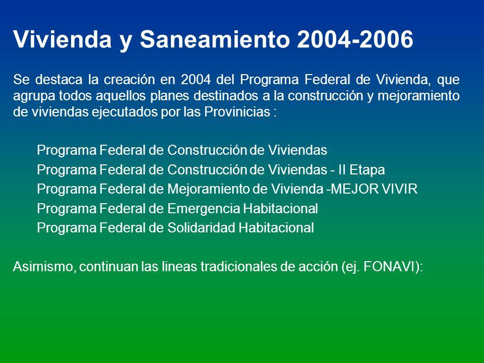 Vivienda y Saneamiento 2004-2006 Se destaca la creación en 2004 del Programa Federal de Vivienda, que agrupa todos aquellos planes destinados a la con