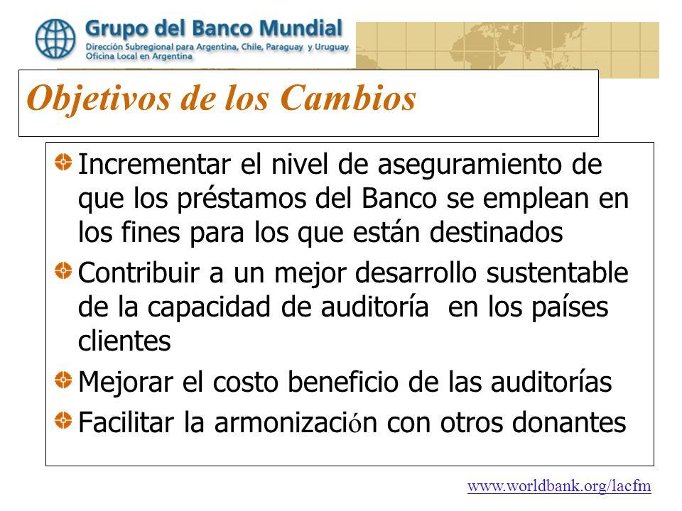 www.worldbank.org/lacfm Objetivos de los Cambios Incrementar el nivel de aseguramiento de que los préstamos del Banco se emplean en los fines para los