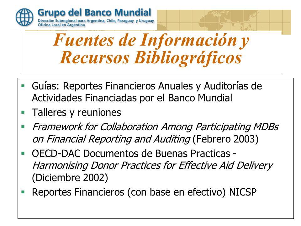 www.worldbank.org/lacfm Fuentes de Información y Recursos Bibliográficos Guías: Reportes Financieros Anuales y Auditorías de Actividades Financiadas p