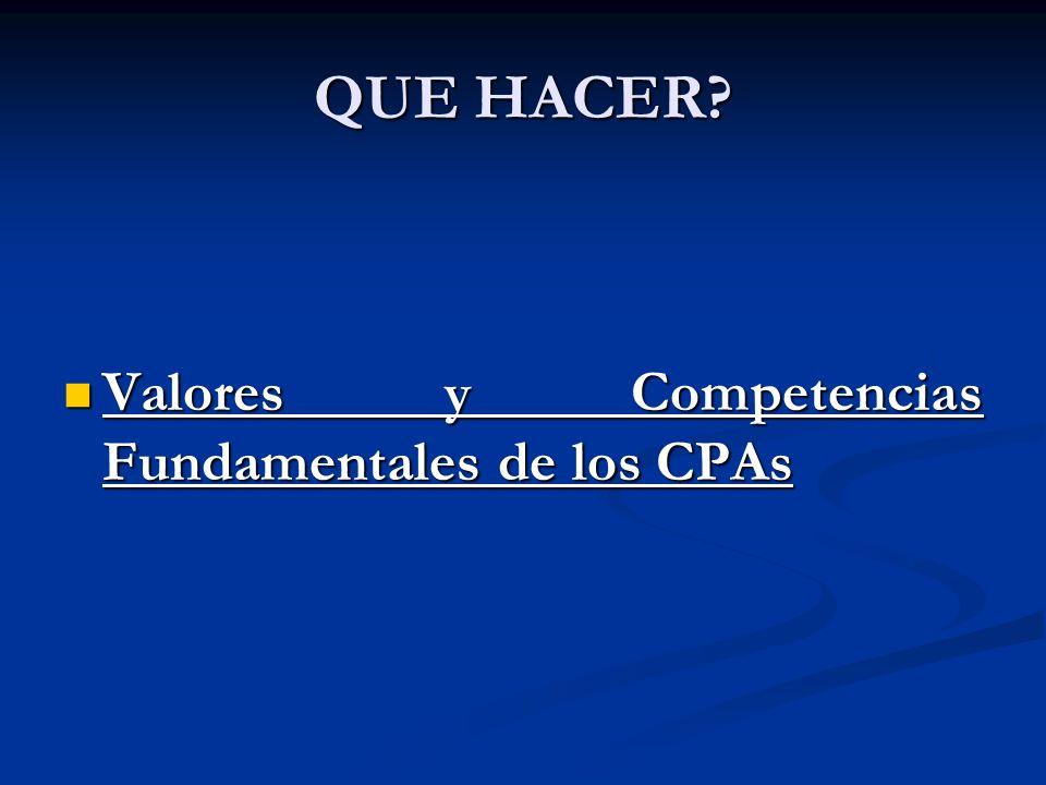QUE HACER? Valores y Competencias Fundamentales de los CPAs Valores y Competencias Fundamentales de los CPAs