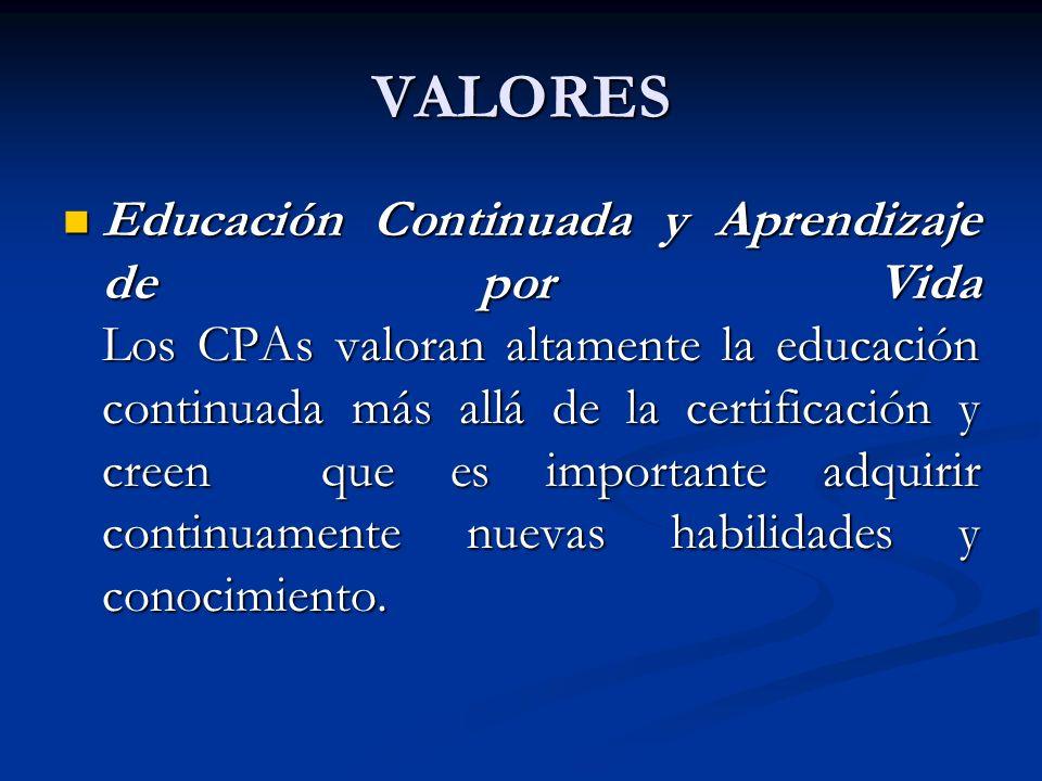 VALORES Educación Continuada y Aprendizaje de por Vida Los CPAs valoran altamente la educación continuada más allá de la certificación y creen que es
