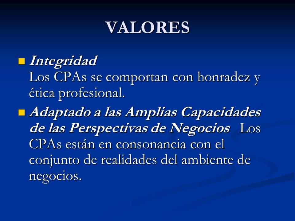 VALORES Integridad Los CPAs se comportan con honradez y ética profesional. Integridad Los CPAs se comportan con honradez y ética profesional. Adaptado