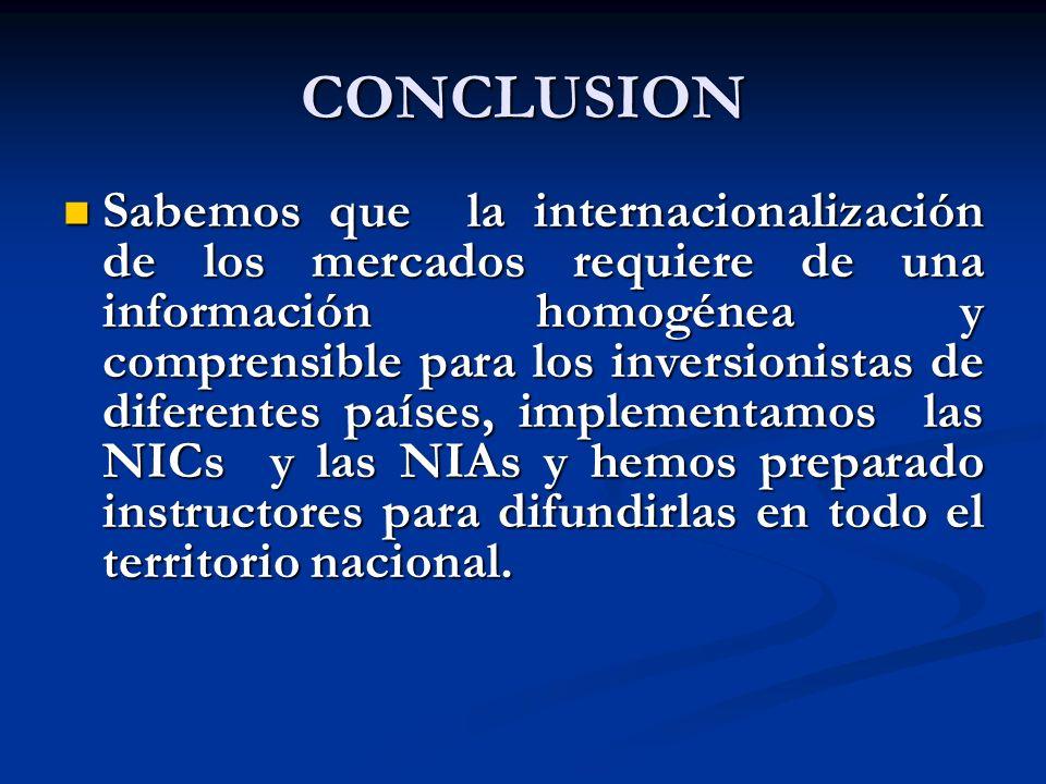 CONCLUSION Sabemos que la internacionalización de los mercados requiere de una información homogénea y comprensible para los inversionistas de diferen