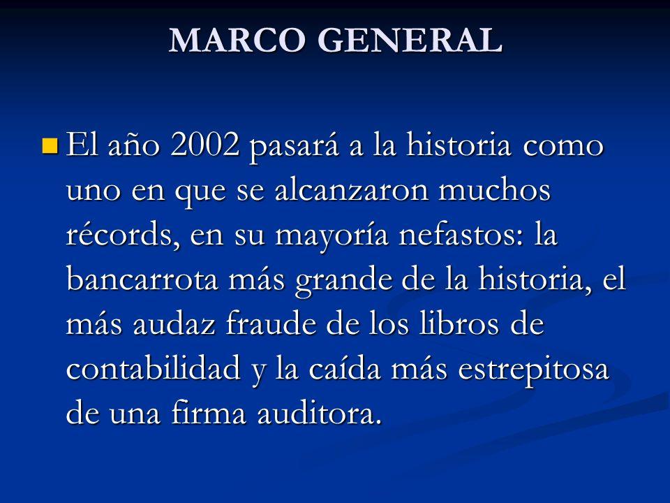 MARCO GENERAL El año 2002 pasará a la historia como uno en que se alcanzaron muchos récords, en su mayoría nefastos: la bancarrota más grande de la hi
