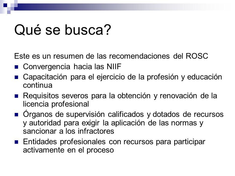 Qué se busca? Este es un resumen de las recomendaciones del ROSC Convergencia hacia las NIIF Capacitación para el ejercicio de la profesión y educació