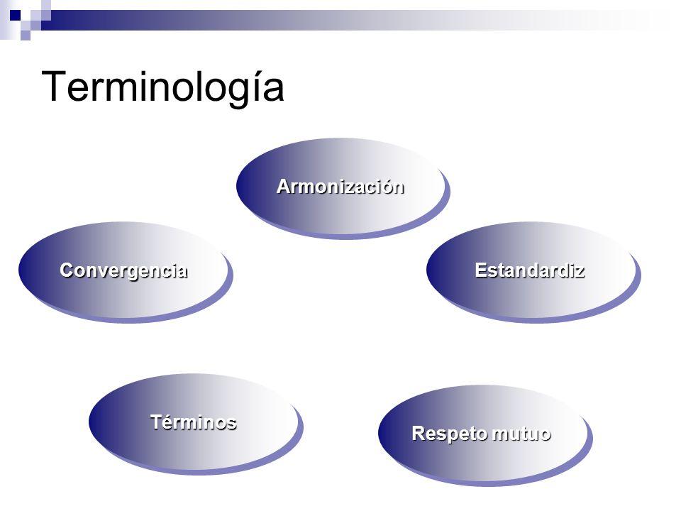 Terminología ArmonizaciónArmonización ConvergenciaConvergenciaEstandardizEstandardiz Respeto mutuo TérminosTérminos