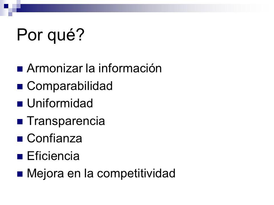 Por qué? Armonizar la información Comparabilidad Uniformidad Transparencia Confianza Eficiencia Mejora en la competitividad