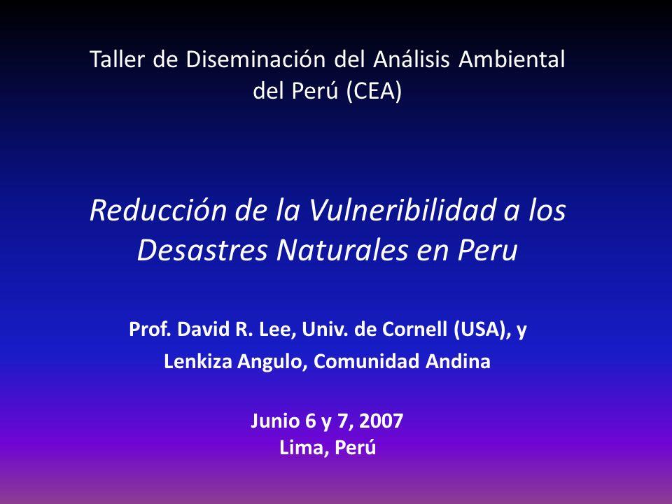 Taller de Diseminación del Análisis Ambiental del Perú (CEA) Reducción de la Vulneribilidad a los Desastres Naturales en Peru Prof.