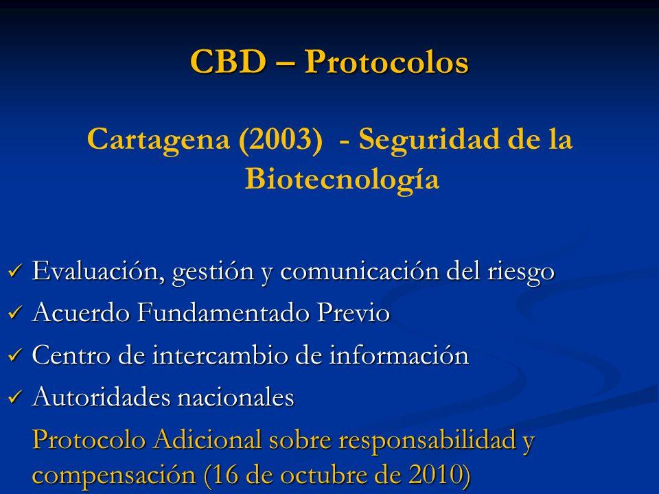 CBD – Protocolos Cartagena (2003) - Seguridad de la Biotecnología Evaluación, gestión y comunicación del riesgo Evaluación, gestión y comunicación del