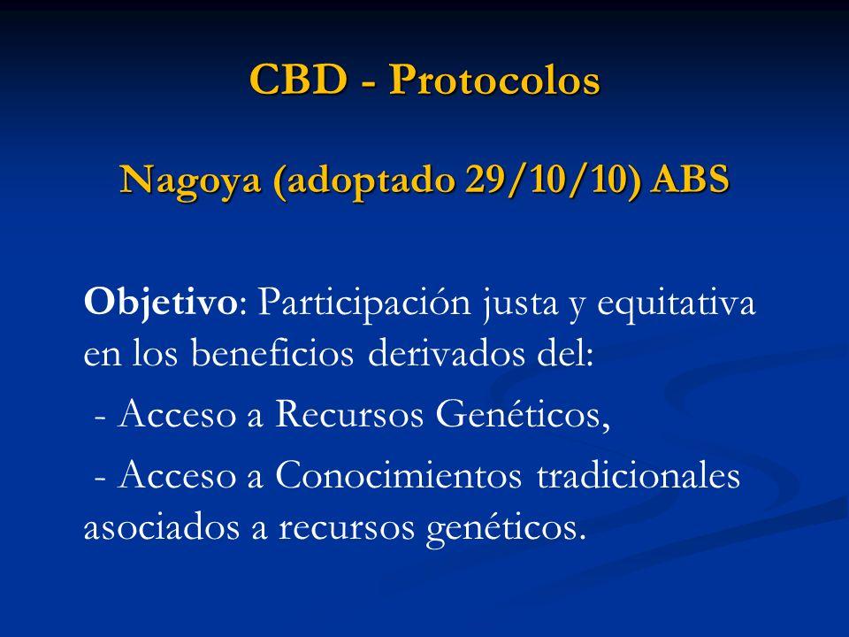 CBD - Protocolos Nagoya (adoptado 29/10/10) ABS Objetivo: Participación justa y equitativa en los beneficios derivados del: - Acceso a Recursos Genéti