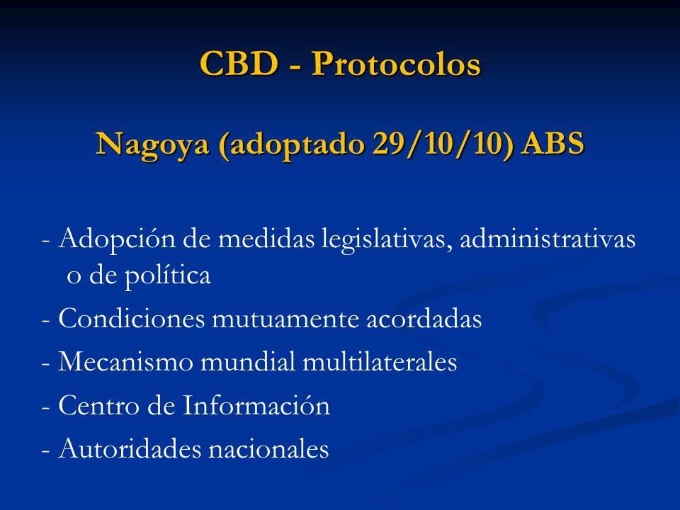 CBD - Protocolos Nagoya (adoptado 29/10/10) ABS - Adopción de medidas legislativas, administrativas o de política - Condiciones mutuamente acordadas -