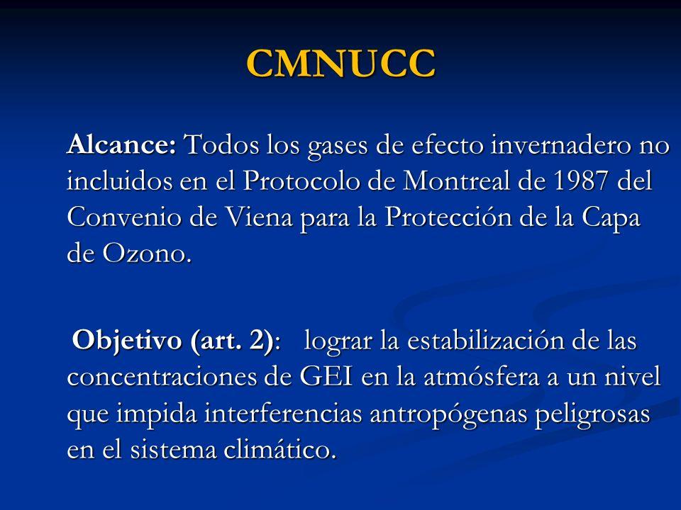 CMNUCC Alcance: Todos los gases de efecto invernadero no incluidos en el Protocolo de Montreal de 1987 del Convenio de Viena para la Protección de la