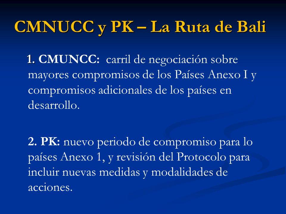 CMNUCC y PK – La Ruta de Bali 1. 1. CMUNCC: carril de negociación sobre mayores compromisos de los Países Anexo I y compromisos adicionales de los paí