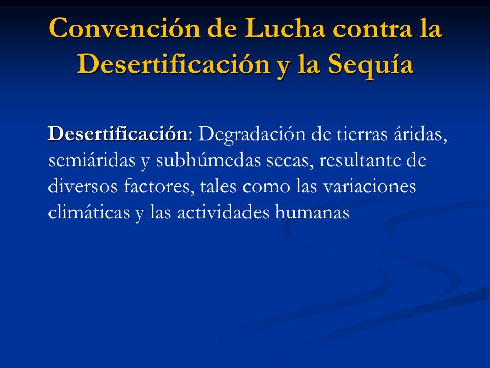 Convención de Lucha contra la Desertificación y la Sequía Desertificación: Desertificación: Degradación de tierras áridas, semiáridas y subhúmedas sec